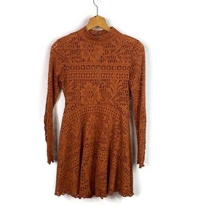 Free People FP Beach Terracotta Lace Floral Dress